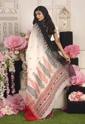Offwhite Handloom Cotton Saree With Manipuri Pallu And Dual Border