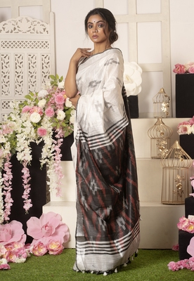 Ivory Ikkat Saree With Black And Red Pallu