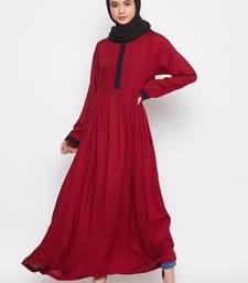 Maroon plain rayon abaya