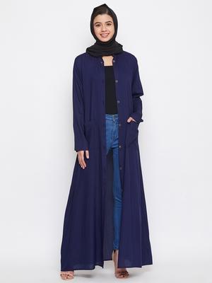 Blue plain rayon abaya