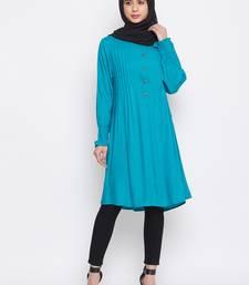 Sky-blue plain rayon islamic-tunics