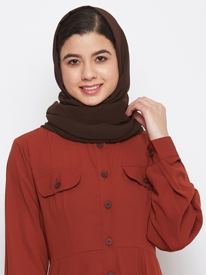Brown plain georgette hijab