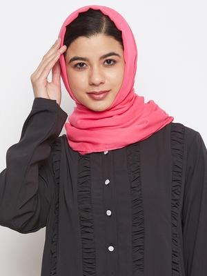 Pink plain rayon hijab