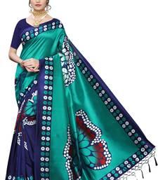 Salwar Studio Women's Turquoise & Blue Art Silk Printed Saree with Blouse Piece