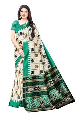 Salwar Studio Women's White & Green Art Silk Printed Saree with Blouse Piece