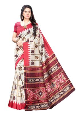 Salwar Studio Women's White & Peach Art Silk Printed Saree with Blouse Piece