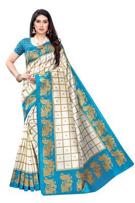 Salwar Studio Women's White & Blue Art Silk Printed Saree with Blouse Piece