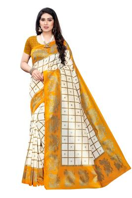 Salwar Studio Women's White & Mustard Art Silk Printed Saree with Blouse Piece