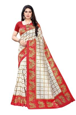Salwar Studio Women's White & Red Art Silk Printed Saree with Blouse Piece