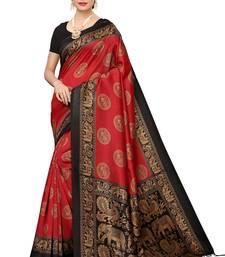 Salwar Studio Women's Red & Black Art Silk Printed Saree with Blouse Piece