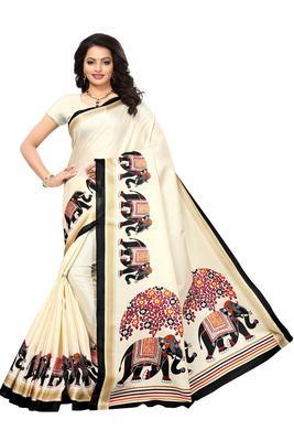 Salwar Studio Women's Off White & Black Khadi Printed Saree with Blouse Piece
