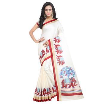 Salwar Studio Women's Off White & Red Khadi Printed Saree with Blouse Piece