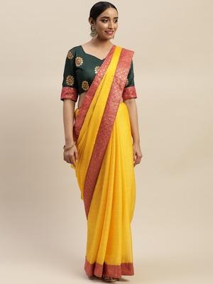 Yellow plain silk blend saree with blouse
