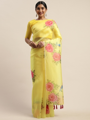 Yellow printed organza saree with blouse