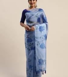 Blue printed organza saree with blouse