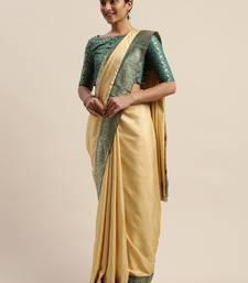 Beige plain silk blend saree with blouse