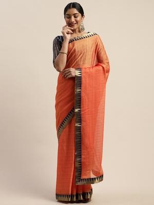 Orange plain net saree with blouse