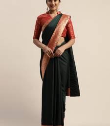 Green plain silk blend saree with blouse