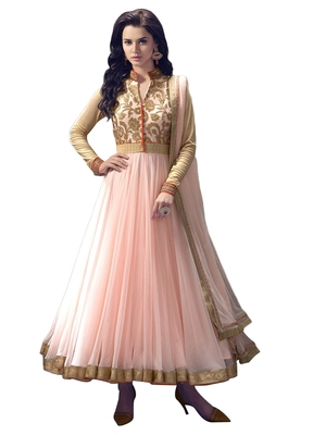 135d095884 Pink embroidered net semi stitched salwar with dupatta - FABFIZA - 483072