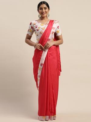 Pink plain silk blend saree with blouse