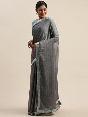 Grey plain net saree with blouse