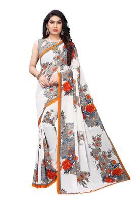 Salwar Studio Women's White & Orange Rennial Printed Saree with Blouse Piece