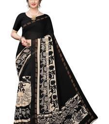 Salwar Studio Women's Black & Beige Rennial Printed Saree with Blouse Piece