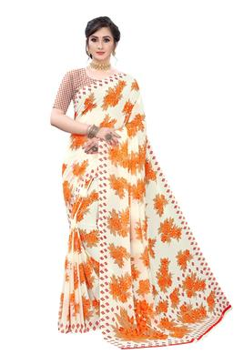 Salwar Studio Women's White & Orange Rennial Printed Saree with Blouse Piece
