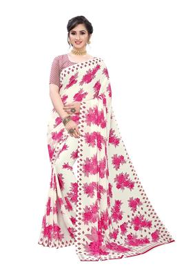 Salwar Studio Women's White & PInk Rennial Printed Saree with Blouse Piece