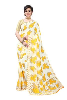 Salwar Studio Women's White & Yellow Rennial Printed Saree with Blouse Piece