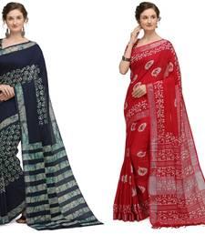 multicolor Handloom Cotton Slub Zari Wex Batik Print saree