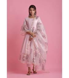 pink Organza ethnic kurtis