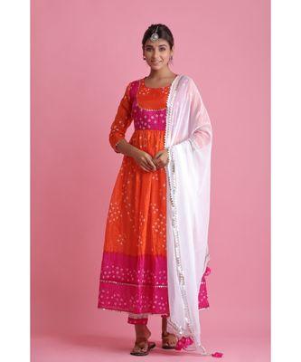Orange Chiffon ethnic kurtis