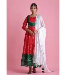 Red Chiffon ethnic kurtis