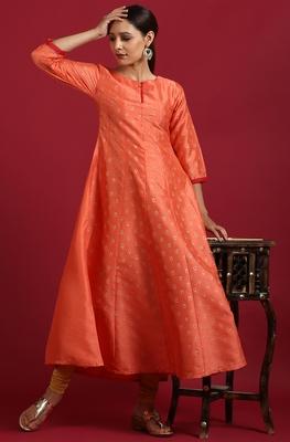 Peach printed silk ethnic-kurtis