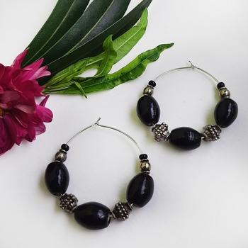 Black agate earrings