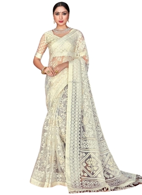 White brasso brasso saree with blouse