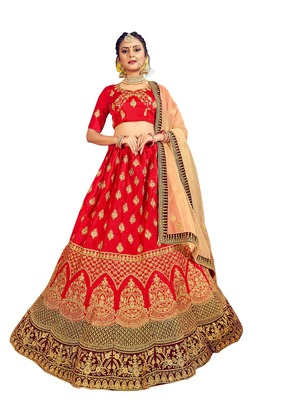 Red thread embroidery silk unstitched lehenga