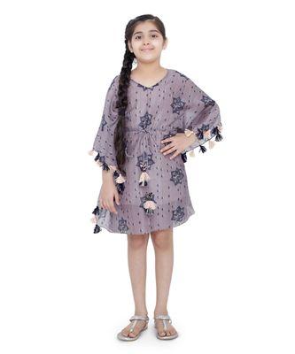 PS Kids Purple Colour Printed Silkmul Kaftaan for Girls