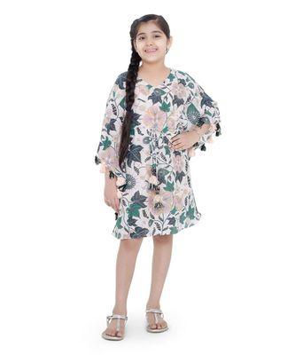 PS Kids White Colour Printed Silkmul Kaftaan for Girls