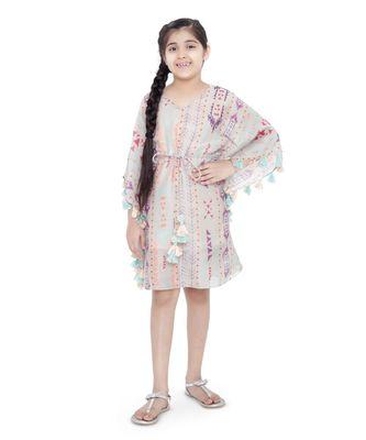 PS Kids Grey Colour Printed Silkmul Kaftaan for Girls