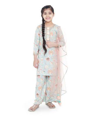 PS Kids Aqua Colour Printed Cotton Kurta with Palazzo and Blush Colour Net Dupatta for Girls