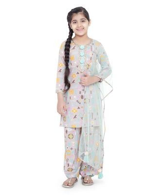 PS Kids Lavender Colour Printed Cotton Kurta with Palazzo and Aqua Colour Net Dupatta for Girls