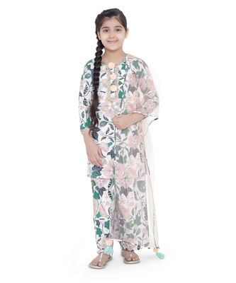 PS Kids White Colour Printed Cotton Kurta with Palazzo and Blush Colour Net Dupatta for Girls