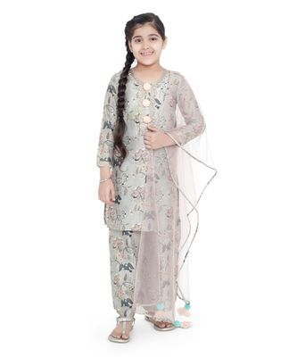 PS Kids Mint Colour Printed Cotton Kurta with Palazzo and Blush Colour Net Dupatta for Girls