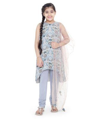 Printed Art Georgette Kigh Low Kurta with Pale Blue Colour Soft Net Churidar and Blush Colour Net Dupatta for Girls