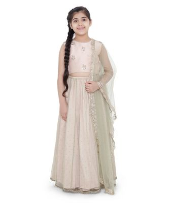 Silk Embroidered Choli with Mint Colour Mukaish Net and Blush Colour Silk Lehenga with Mint Colour Net Dupatta for Girls