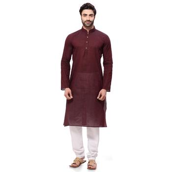 Brown plain cotton ethnic-kurtis