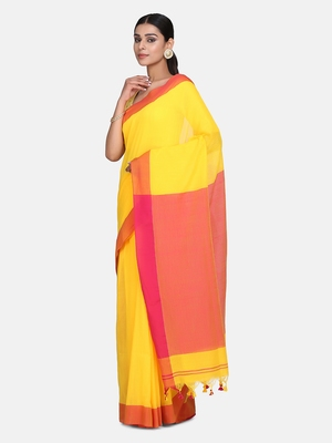 Yellow Plain Work Khadi Cotton Handloom Saree With Blouse