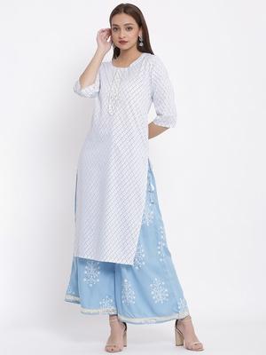POSAKA Womens Rayon Embroidered and Printed Straight Kurta Palazzo Set (White)